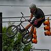 August 22 York SC - bmx extreme stunt man performs at annual city of york summerfest 2015