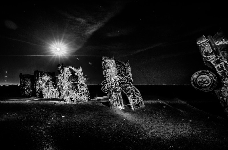 AMARILLO, TEXAS - April 2015: Famous art installation Cadillac Ranch at night