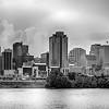 Cincinnati skyline. Image of Cincinnati skyline and historic John A. Roebling suspension bridge cross Ohio River.