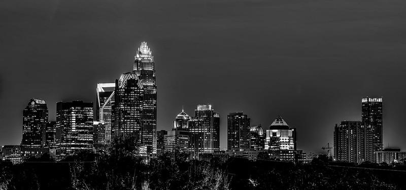 charlotte north carolina night skyline