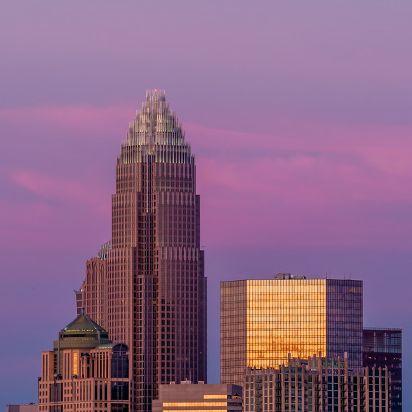 Charlotte, North Carolina, skyline in the afternoon sun.