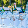 wedding liquor table with glasses and drinks